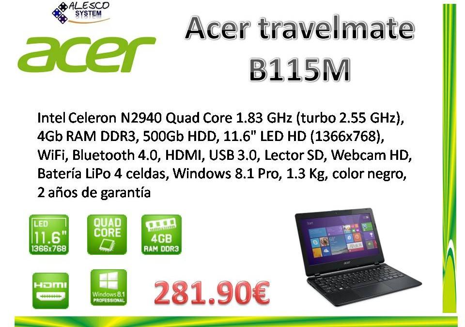 Portatil Acer Travelmate B115M Windows 8.1 Pro